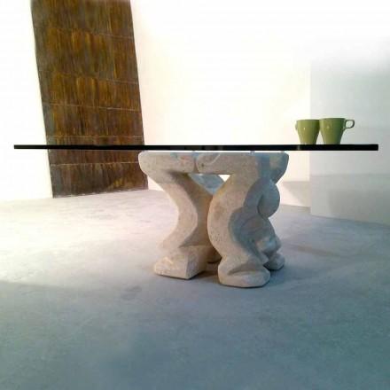 Firkantet bord håndskåret i Vicenza Stone Medusa-S