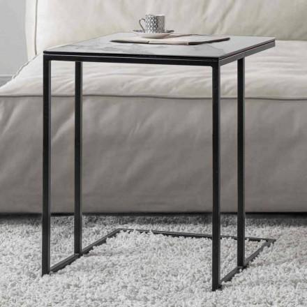 Firkantet sofabord i keramikglas med metalbase - Anselmo