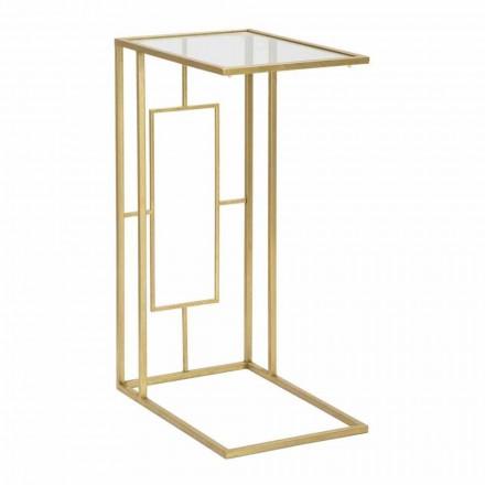 Rektangulært sofabord i jern og moderne glas - Albertino