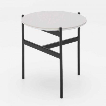Modernt design keramisk og metal rundt salongbord - Gaduci
