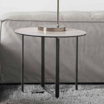 Rundt sofabord med hvid marmor keramisk glasplade - Anselmo