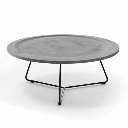 Rundt sofabord i beton og sort metal fremstillet i Italien - Evolve