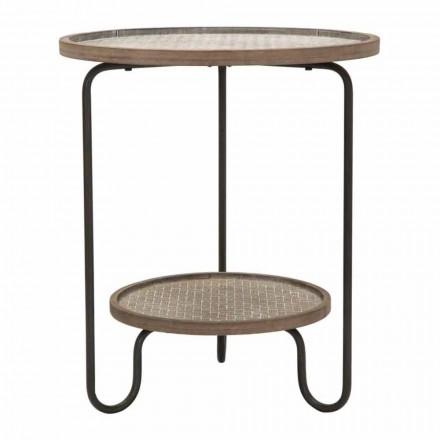 Moderne design rundt jern og MDF sofabord - Luther