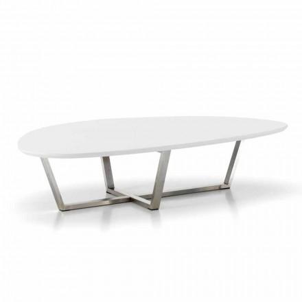 Modernt formet loungebord med hvid MDF-top - klar