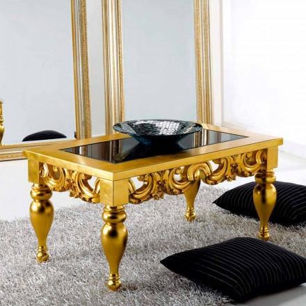 Kaffebord klassisk design i Lof træ, guld overflade