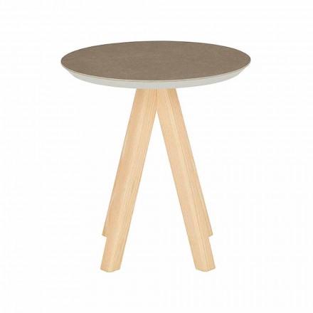 Rundt sofabord i stuen i ask og keramisk top - Amerigo