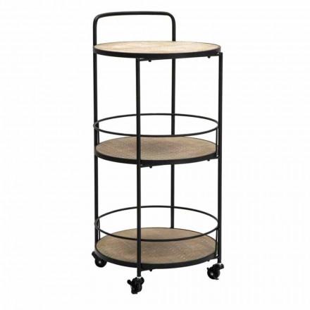 Sofabord i moderne design i jern og MDF med hjul og 3 hylder - Lennox