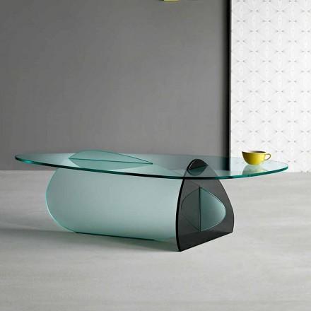 Design sofabord i gennemsigtigt, røget og ætset glas fremstillet i Italien - Tac Tac