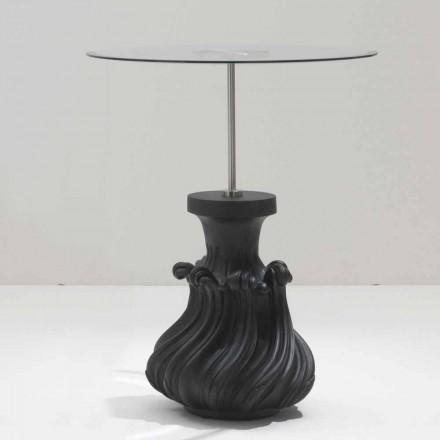 Sofabord glas / træ sandblæst solid sort, diameter 60, Margo