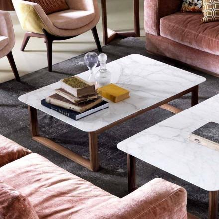Grilli York design massivt træ og marmor sofabord lavet i Italien