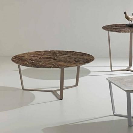 Rundt sofabord lavet af kejsermarmor, moderne design, Adone