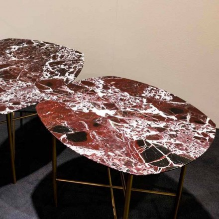 Designbord i Levanto rød marmor og metal, fremstillet i Italien - Morbello