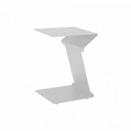 Sidebord til sofa til udendørs brug i hvid eller antracit aluminium - Deniz