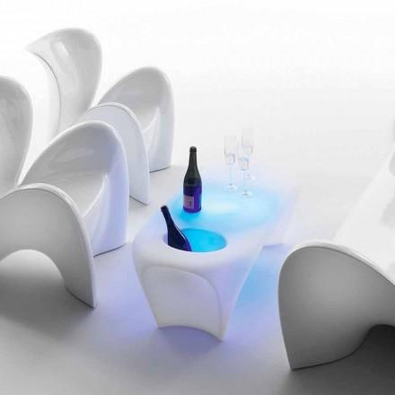 Lyst sofabord med mousserende vinflaske, udendørs eller indendørs design - lilje fra Myyour