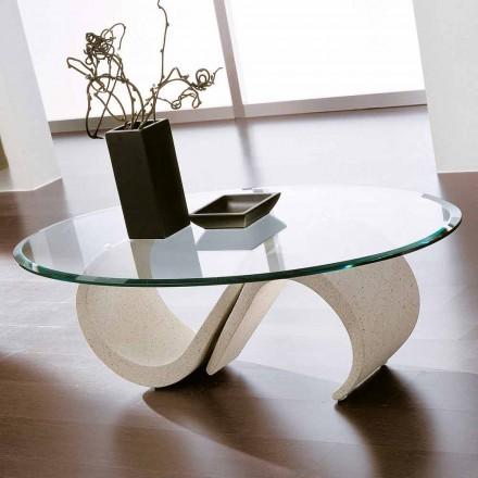 Ovalt sofabord i skråt glas og syntetisk marmor fremstillet i Italien - Barbera