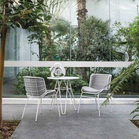 Ædle udendørs sofabord i HPL og hvidt metal fremstillet i Italien - Dublin