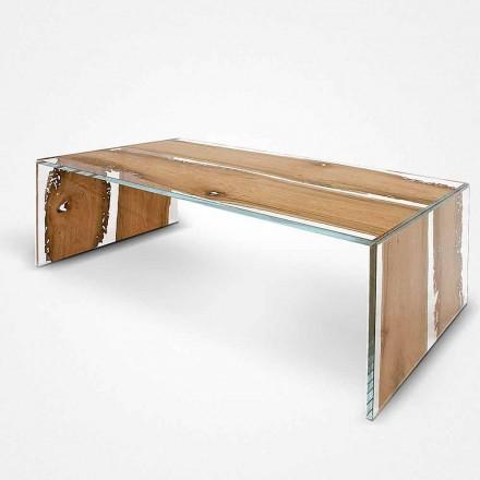 rektangulære sofabord lavet af glas og træ, delfin Venedig Giudecca