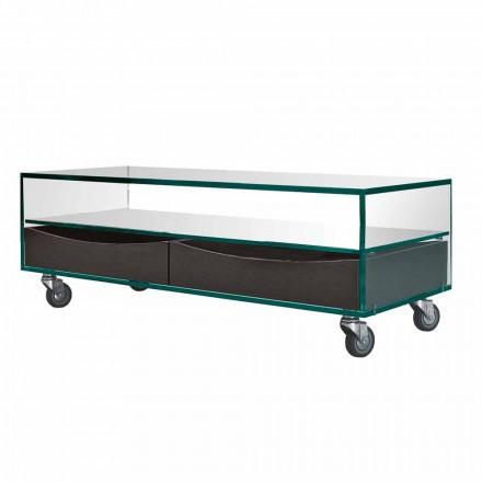 Rektangulært sofabord i Extraclear Glas med skuffer fremstillet i Italien - Ganzo