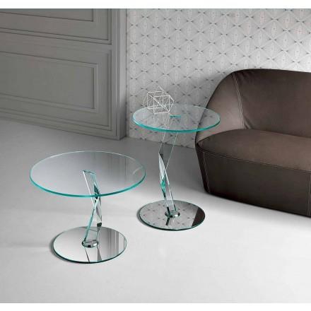 Rundt design sofabord i ekstra klart glas lavet i Italien - Akka