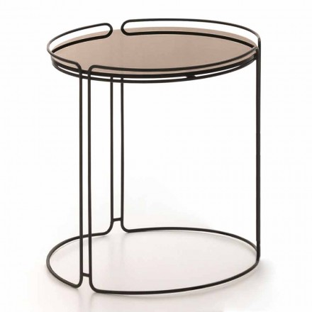Rundt sofabord af metal med glasplade Lavet i Italien - George