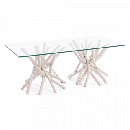 Sofabord med hærdet glasplade og Homemotion Teakfod - Teak