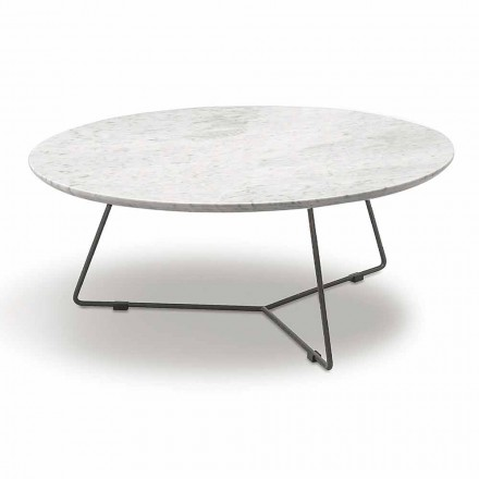 Sofabord med rund marmorplade og metalbase Fremstillet i Italien - Gin