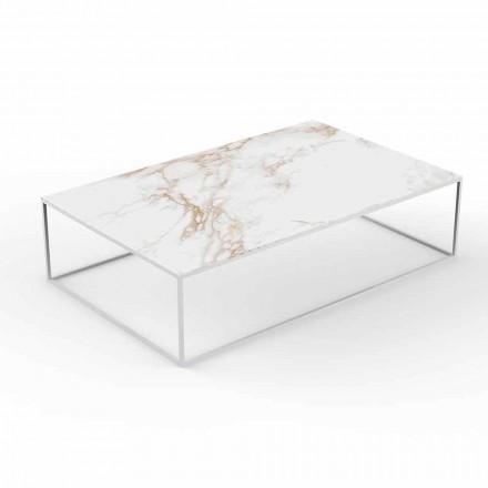 Moderne udendørs sofabord i aluminium og marmoreffekt - Suave af Vondom