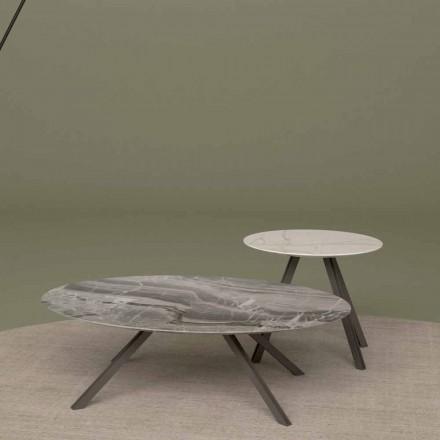 Lounge bord i Orobico eller Calacatta marmor og metal Fremstillet i Italien - Sirena