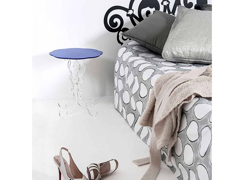 Blå rundt bord diameter 36 cm Janis moderne design, fremstillet i Italien