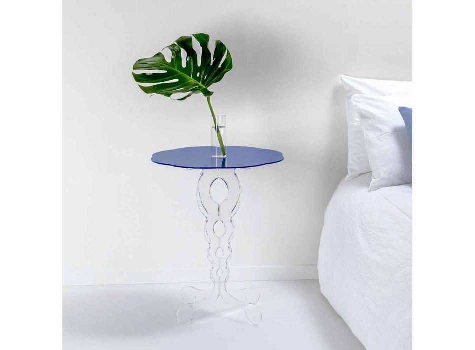 Blå rundt bord diameter 50 cm Janis moderne design, fremstillet i Italien