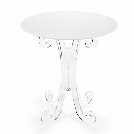 Rundt sofabord i gennemsigtig og hvid plexiglas eller med træ - Stilio