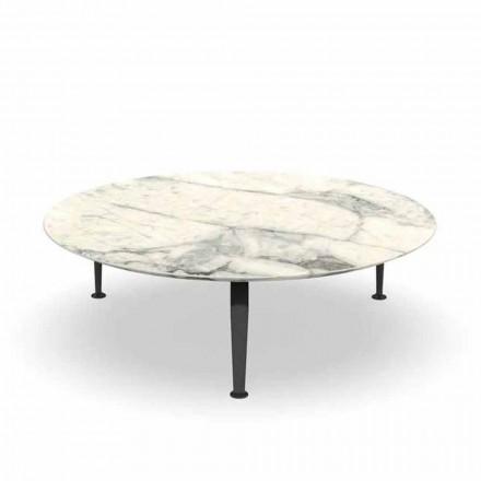 Rundt have sofabord i Calacatta stentøj og aluminium - krydstogt fra Alu Talenti