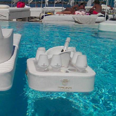 Sofabord - flydende bakke af imiteret læder og plexiglas nautiske Trona