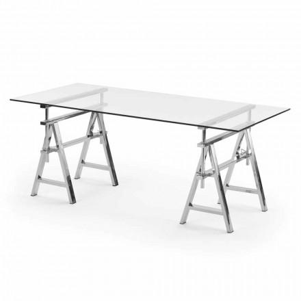 stål / glas højdejusterbar tabel (L190xH72 / 74 / 78xP90cm) Cristal