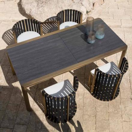 Udtrækkeligt bord 340 cm Udendørsservering i aluminium og glas eller lamineret - Julie