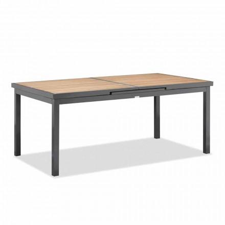 Udvideligt bord til 240 cm fra udendørs i aluminium og teaktop - Venera