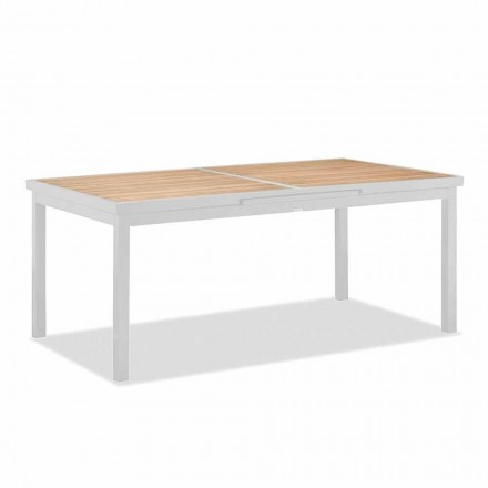 Udtrækkeligt udendørs bord i aluminium og teaktop - Bilel