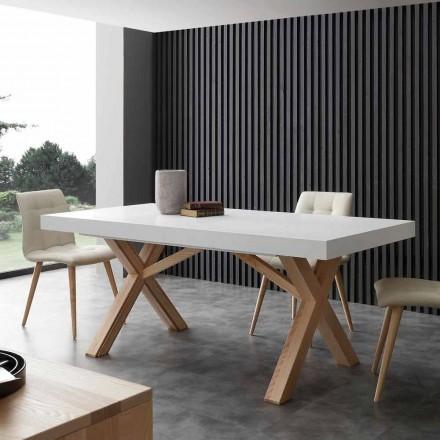 Hvid udvides bord med naturlig fast struktur Rico
