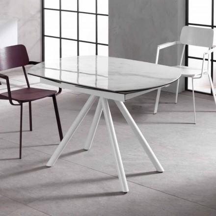 Udvideligt bord med keramiske top og metalben, Lozzolo