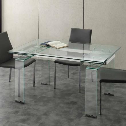 Moderne udtrækkeligt spisebord Lord med hærdet glasplade