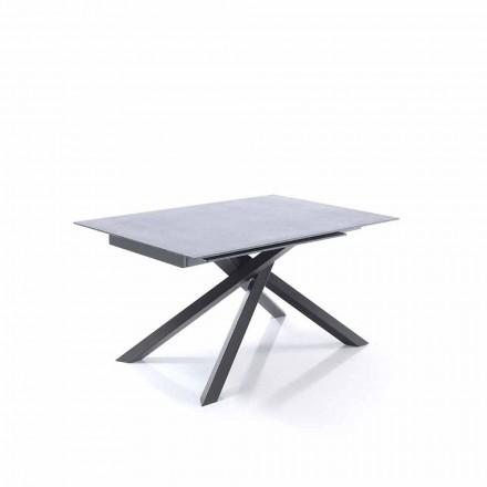 Udvideligt spisebord i glas og metal - Tristano
