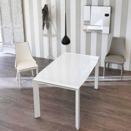 Udtrækkeligt bord moderne design med top i glas Zeno