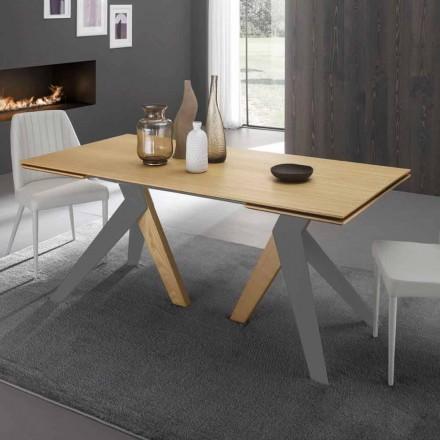 Strækbart spisebord med egetræ i Daryl, fremstillet i Italien