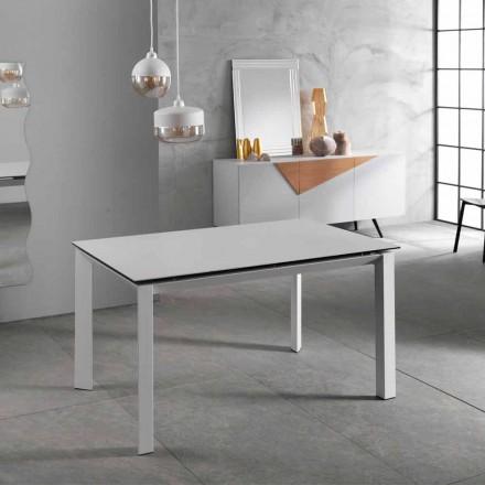 Moderne udvideligt bord op til 220 cm, hvid keramisk top, Nosate