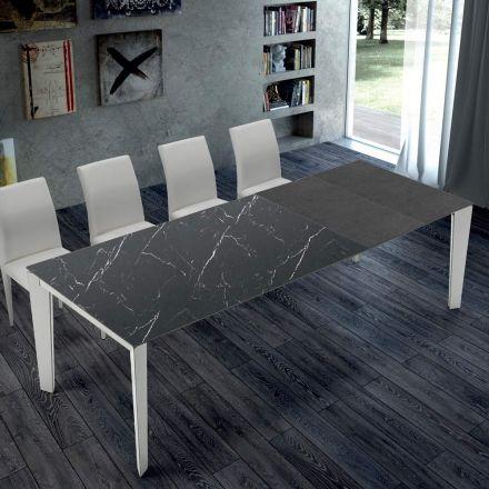 Udvideligt køkkenbord i marmor og stål fremstillet i Italien - Settanta
