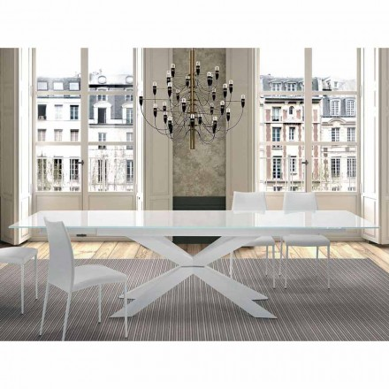 Udvideligt bord op til 300 cm i glas og stål fremstillet i Italien - Grotta