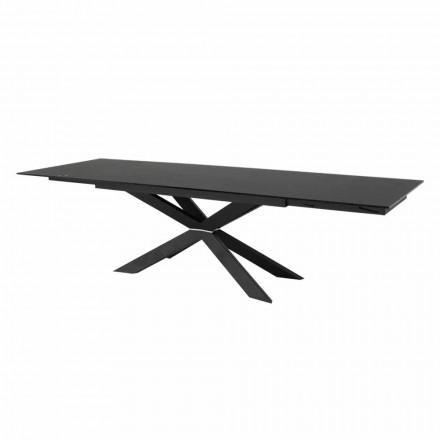Udtrækkeligt bord op til 300 cm i glas og sort stål fremstillet i Italien - Grotta