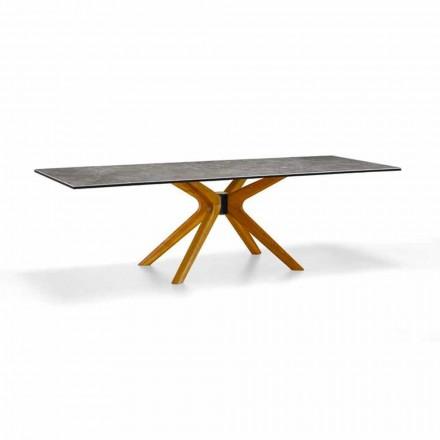 Udvideligt bord Op til 260 cm i stentøj og træ, luksus fremstillet i Italien - Malita