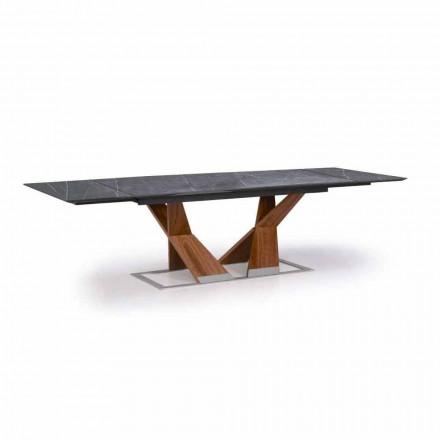 Forlængeligt bord op til 294 cm med top i Gres fremstillet i Italien - Monique