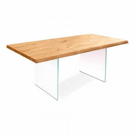 Spisebord i egefiner med glas ben Nico